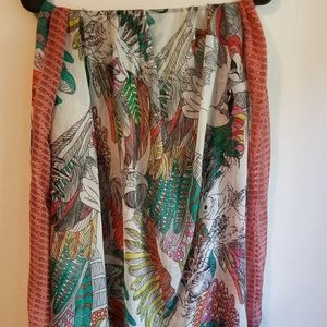 Large rectangular scarf, tropical print